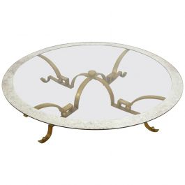Arturo Pani Round Cocktail Table Solid Brass with Large Glass Top