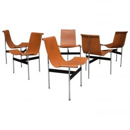 Set of Six Katavolos T-Chairs in Original Tan Leather, USA, 1952