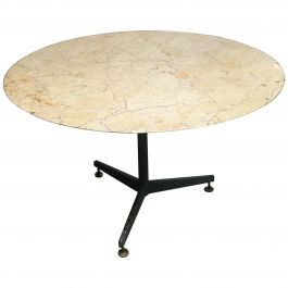 Mid-Century Modern Italian Lacquered Iron Base Table with Marble Top, 1960s