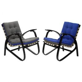 Blue and Grey Armchairs by Jan Vanek, 1935, Set of Two