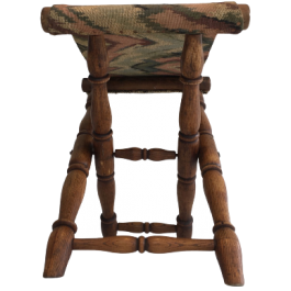 WOOD AND TAPESTRY FOLDING STOOL. FRENCH