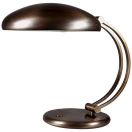 Mid-20th Century brass Metal Desk Lamp with Curved Double Stem and Domed Shade