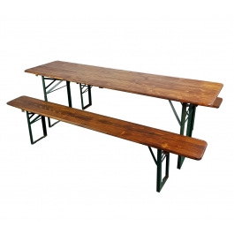 Customised Extra Width Vintage German Beer Table And Benches