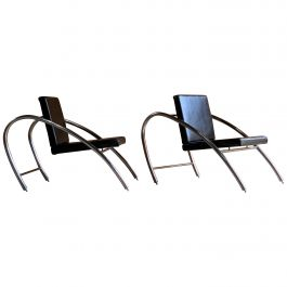 Moreno Chrome & Leather Lounge Chairs by Francois Scali & Alain Domingo for Nemo