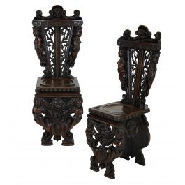 A Pair Of Fine Italian Hall Chairs