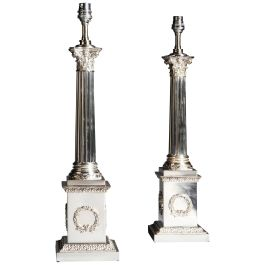 Pair of Edwardian Silver Plate Corinthian Fluted Column Lamps of Exceptional Qua