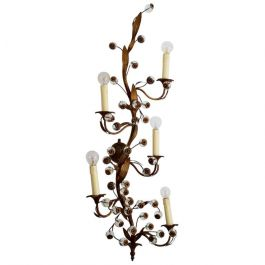Murano Glass Flower and Brass Decorative Wall Sconce