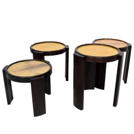 Mexican Modernist Set of Four Nesting Tables in Goatskin and Leather