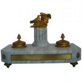Empire Inkwell in White Marble with Pair of Golden Bronze Eagles on Column