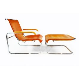Marcel Breuer vintage B35 leather and chrome cantilever armchair and matching footstool.