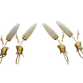 A pair of 1960's retro brass and glass wall lights 4 available