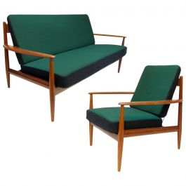 Danish Sofa and Lounge Chair Set by Grete Jalk