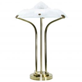 Art Deco Brass and Frosted Glass Lamp, 1940s