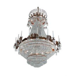 Empire Crystal Chandelier: Large light brass colour with crystal octagons and 18 candle holders