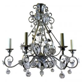 Baguès Style Chandelier with Flowers and Leaves in Glass