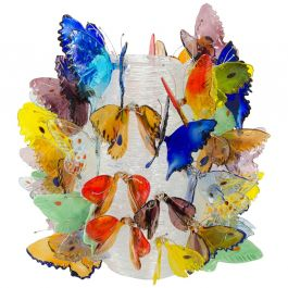 Farfalle, a Limited Edition Mixed Color Butterfly Adorned Vase by Ted Muehling