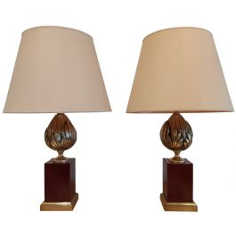 Vintage French Artichoke Table Lamps, Set of 2