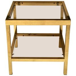 Two-Tier Brass Side Table with Tinted Glass Shelves, European, 1970s