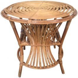 Italian Bamboo and Rattan Side Table from 1950s