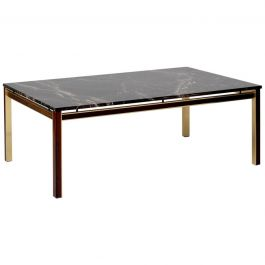 Large Midcentury Brass, Mahogany and Marble Top Coffee Table