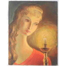 Robert Lesgourgues Naive Portrait Painting of a Woman French Mid century Oil signed R Lesgourges c1950s