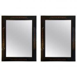 Pair of Flemish Style Faux Tortoishell and Ebonised Ripple Frame Mirrors