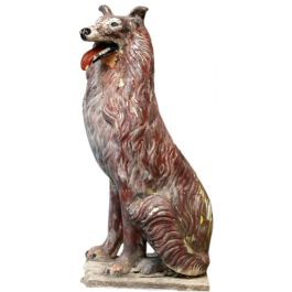 Vintage Italian 1950's Painted Terracotta Collie Dog Statue