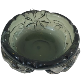 UNUSUAL LARGE CRISTAL ASHTRAY WITH SQUALES