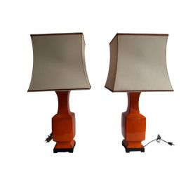 Chinoiserie Orange Porcelain Table Lamps, Mid-Century Modern