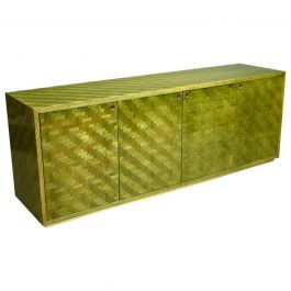 Italian Mosaic Credenza in Green Palm Leaf and Brass by Smania, Italy circa 1970