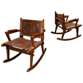 Angel Pazmino Leather and Wood Rocking Chairs, Set of 2, 1960s