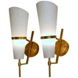 Pair of 1950s Italian Stilnovo Wall Sconces in Brass and Opaline Glass