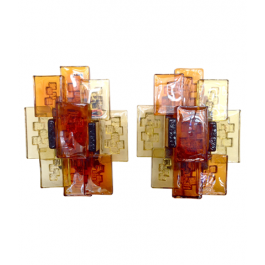A PAIR OF HOLM SORENSEN GLASS WALL SCONCES