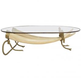 Hollywood Regency Coffee Table Faux Ivory and Bronze Valenti Madrid, Spain