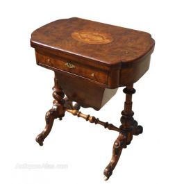 Victorian Burr Walnut Work Table / Games Table