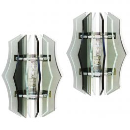 Pair of Wall Lights Sconces Smoked Glass Italian Veca Midcentury, circa 1970