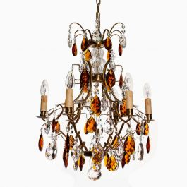 Brass Framed Chandelier with Amber Coloured Crystals