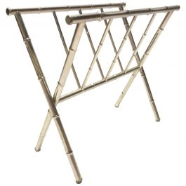 Vintage Chrome Faux Bamboo Magazine Rack, 1970s