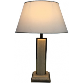 TRAVERTINE AND GILT CHROME TABLE LAMP. FRENCH