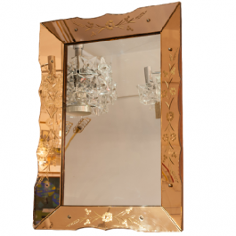 Vintage French Bronze and Clear Glass Etched Mirror