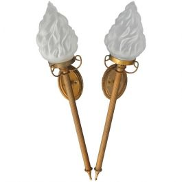 Pair of French Torchere Flame Glass Shade Wall Lights