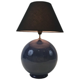 LARGE ROUND BLUE CERAMIC TABLE LAMP WITH SHADE