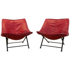 Exquisite Set of Molinari Foldable Easy Chairs Designed by Teun van Zanten 1970s