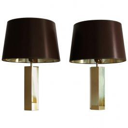 Brass Table Lamps by Ingo Maurer with Original Lamp Shades 1970s, Set of Two