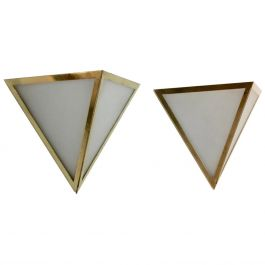 Set of Brass & Opal Glass Triangle Wall Sconces from Glashütte Limburg, Germany