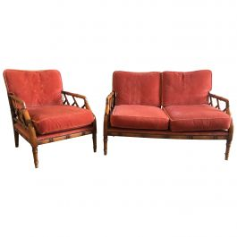 Mid-Century Modern Italian Faux Bamboo Living Room Set, 1960s