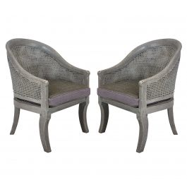 A Pair Of Regency Style Cane Chairs