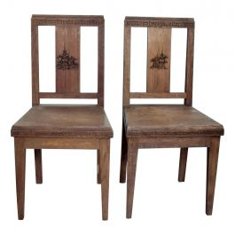 Greek Frank Lloyd Wright Motif Pair of Solid Wood Chairs Made in Hong Kong