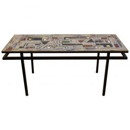 Brutalist Belgian Ceramic and Steel Artwork Coffee Table, 1970s, Signed
