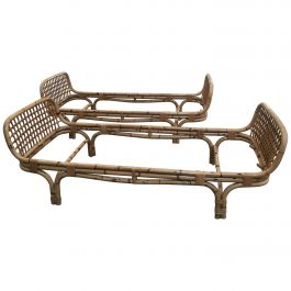 Mid-Century Modern Pair of Italian Bamboo Single Beds, 1970s